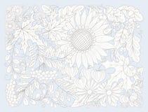Skład z kwiatami, liśćmi i roślinami jesieni, Obrazy Stock