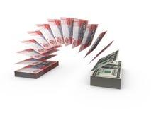 Skład z latającymi banknotami ukraiński pieniądze Zdjęcie Royalty Free