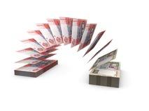 Skład z latającymi banknotami ukraiński pieniądze Zdjęcia Royalty Free
