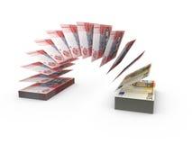 Skład z latającymi banknotami ukraiński pieniądze Obrazy Stock