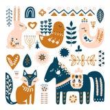 Skład z Ludowej sztuki zwierzętami i dekoracyjnymi elementami royalty ilustracja