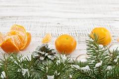 Skład z mandarynkami i choinką na białym wieśniaku wo Fotografia Royalty Free