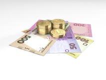 Skład z monetami i banknotami ukraiński pieniądze Obraz Stock