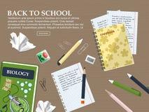 Skład z powrotem szkoła z schoolbook, ćwiczenie książkami i materiały, wektor Zdjęcie Stock