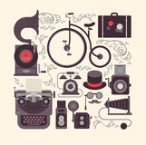 Skład z retro stylów życia przedmiotami ilustracji