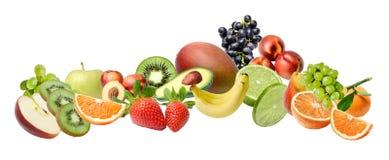 Skład z wielką rozmaitością różne owoc na białym odosobnionym tle fotografia stock