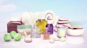 Skład zdroju traktowanie, wapno, handmade mydło, aromatyczny olej, obraz stock