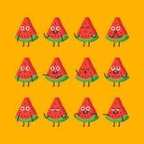Składa arbuza charakteru - ustalone różne opcje i emocje Zdjęcie Stock