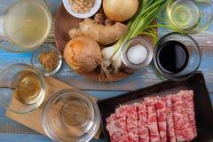 Składnik Gyudon zrobił od nieznacznie pokrojonej wołowiny, cebula, soja sa Zdjęcia Royalty Free