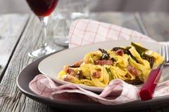 składniki żywności kulinarni włoskich carbonara dzień światła makaronu obrazek brać Zdjęcie Royalty Free