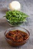 Składniki dla Caprese sałatki z Suszącymi pomidorami Zdjęcia Royalty Free