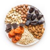 Składniki dla energetycznych dat piłek, odżywki dla zdrowego styl życia i Cukierki karmowi dla weganinu i dzieci zdjęcie royalty free