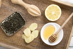 Składniki dla imbirowej herbaty zdjęcia royalty free