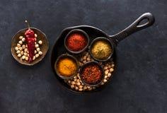 Składniki dla Indiańskiego naczynia Chole lub Chana Masala lub Korzenni Chickpeas w pucharach Zdjęcie Royalty Free