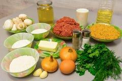 Składniki dla kulinarnych klopsików z stroganoff sosem: minced fotografia royalty free