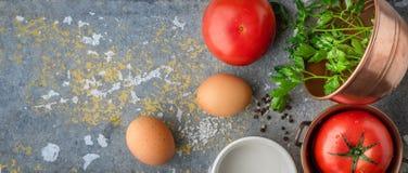 Składniki dla piec jajek z pomidorami na drylują stołowego szerokiego ekran Zdjęcia Royalty Free