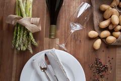 Składniki dla szparagowego łasowania Fotografia Stock