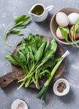 Składniki dla zielonego shakshuka świeży szpinak, czosnek, ramson i organicznie rolni jajka na popielatym tle -, zdjęcie stock