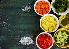składniki dla zupnego tła Zdjęcia Stock