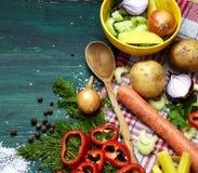składniki dla zupnego tła Fotografia Stock