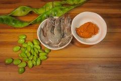 Składniki gotować karmowego Parkia Speciosa curry'ego Czerwonej garneli Zdjęcia Royalty Free