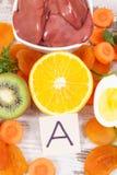 Składniki jako źródło witamina A, naturalne kopaliny i żywienioniowy włókno, odżywczy zdrowy łasowania pojęcie fotografia stock