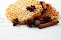 Składniki sezonowy jesieni kucharstwo, piec Belgijscy gofry, fotografia stock