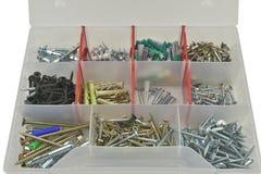 Składowy pudełko dla rygli, dokrętki, śruby Zdjęcia Stock