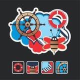 składu ikon target1718_0_ morski Obraz Stock
