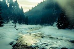 składu natury rzeki śnieg delikatnie Zdjęcia Royalty Free