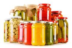 składu słojów kiszeni warzywa Marynowany jedzenie zdjęcie stock