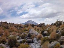 Skłony wokoło wulkanu isluga przy chilean altiplano Fotografia Royalty Free