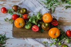 Skład jaskrawi pomidory na drewnianym tle flatlay Odgórny widok Zdjęcia Royalty Free