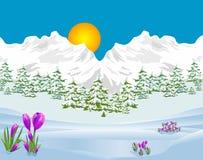 Przyczepy wiosna w górach Zdjęcia Stock