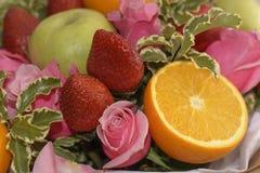 Skład kwiaty i owoc Obraz Stock