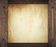 Skład rocznika brudny papier z stary drewnianym Obraz Stock