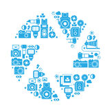 Skład z fotografia symbolami Zdjęcia Stock