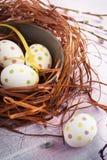 Skład z Wielkanocnymi jajkami w gniazdeczku, na drewnianym tle Zdjęcie Stock