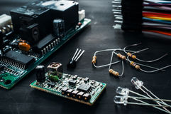 Składniki dla elektronika rozwoju, diy Zdjęcia Royalty Free