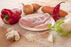 Składniki dla kurczaka z warzywami Zdjęcia Stock