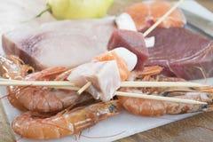 Składniki dla rybich skewers Zdjęcia Royalty Free
