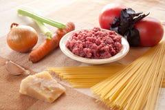 Składniki dla spaghetti Bolognese Fotografia Royalty Free