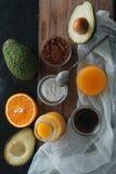 Składniki dla surowego cacao mousse Obraz Stock