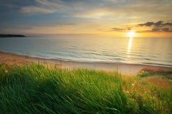 składu trawy zielonego morza nieba zmierzch Zdjęcia Royalty Free
