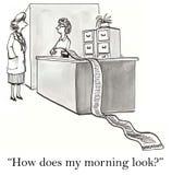Sök efter kvinnan, hur gör min morgon Arkivbild