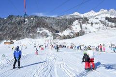 Skłon Engelberg w Szwajcarskich Alps Zdjęcia Stock