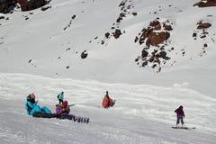 Skłon na narciarstwo kurorcie Elbrus Zdjęcie Stock
