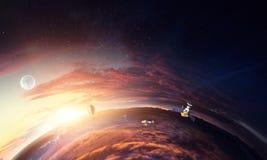 Sk?nhet f?r djupt utrymme Planetomlopp arkivfoton