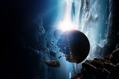 Sk?nhet f?r djupt utrymme Planetomlopp arkivbild