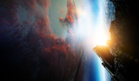 Sk?nhet f?r djupt utrymme Planetomlopp arkivfoto
